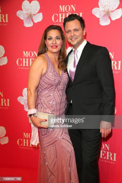 Julia Dahmen and her husband Carlo Fiorito during the Mon Cheri Barbara Tag at Alte Bayerische Staatsbank on December 4 2018 in Munich Germany