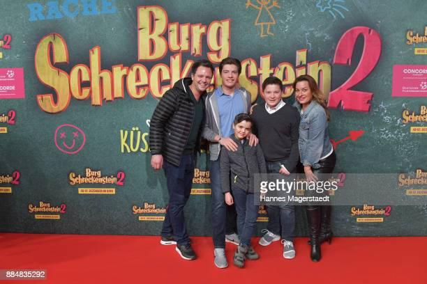 Julia Dahmen Carlo Fiorito and their children Joshua Emilio and Mikosch during the 'Burg Schreckenstein 2' Premiere at Mathaeser Filmpalast on...