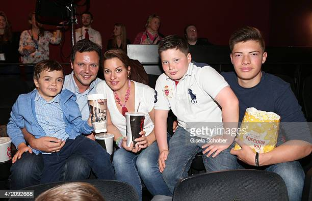Julia Dahmen with her husband Carlo son Mikosch Emilio and Joshua during the German premiere of the film 'Ostwind 2' on May 3 2015 in Munich Germany