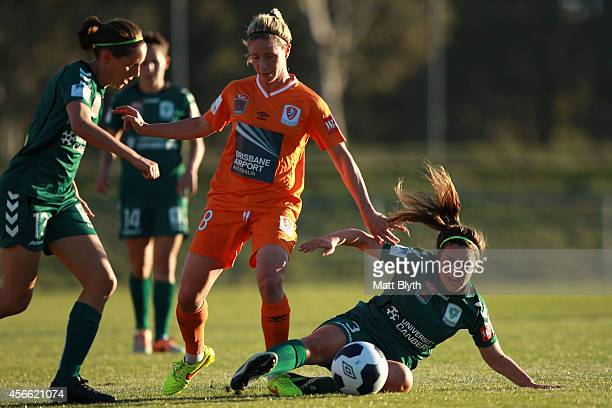 Julia De Angelis of Canberra and Elise KellondKnight of Brisbane compete for the ball during the round four WLeague match between Canberra United and...