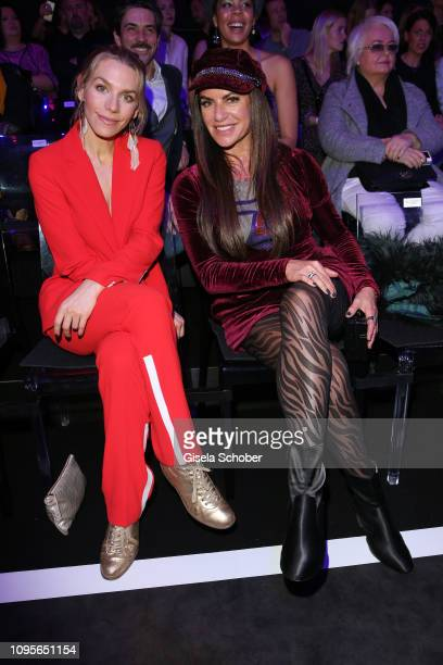 Julia Dietze and Christine Neubauer attend the Maybelline New York show 'Makeup that makes it in New York' during the Berlin Fashion Week...