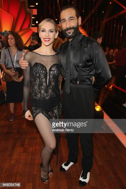 Julia Dietze and Massimo Sinato smile during the 5th show of the 11th season of the television competition 'Let's Dance' on April 20 2018 in Cologne...