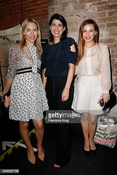 Julia Dietze designer Dorothee Schumacher and Mina Tander attend the Dorothee Schumacher show during the MercedesBenz Fashion Week Berlin...