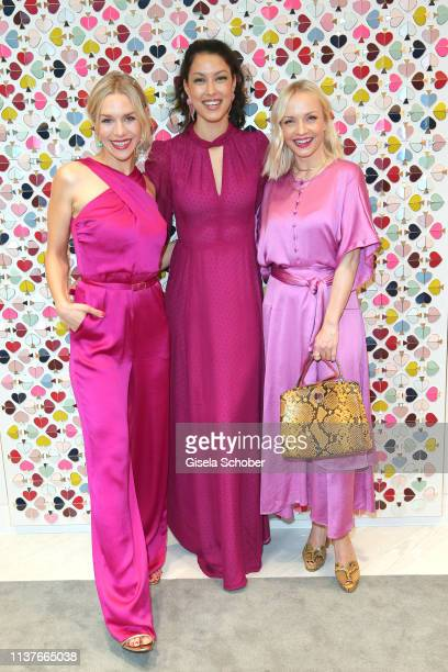 Julia Dietze Rebecca Mir and Janin Ullmann during the opening of the new Kate Spade New York boutique store on April 16 2019 in Munich Germany