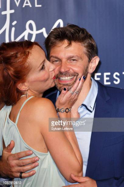 Julia Dorval and Aliocha Itovich attends a photocall during the20th Festival of TV Fiction on September 13, 2018 in La Rochelle, France.