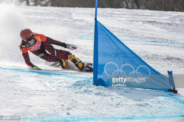 Julia Dujmovits of  Austria at parallel giant slalom at winter olympics Gangneung South Korea on February 24 2018