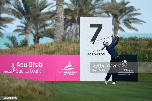 Julia Engstrom of Sweden tees off from the 7th hole during Day Two of the Fatima Bint Mubarak Ladies Open at Saadiyat Beach Golf Club on January 11...