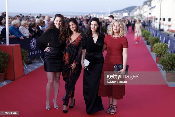 Julia Faure Ophelie Bau Alice Vial Alysson Paradis attend photocall during Cabourg Film Festival day 3 on June 15 2018 in Cabourg France