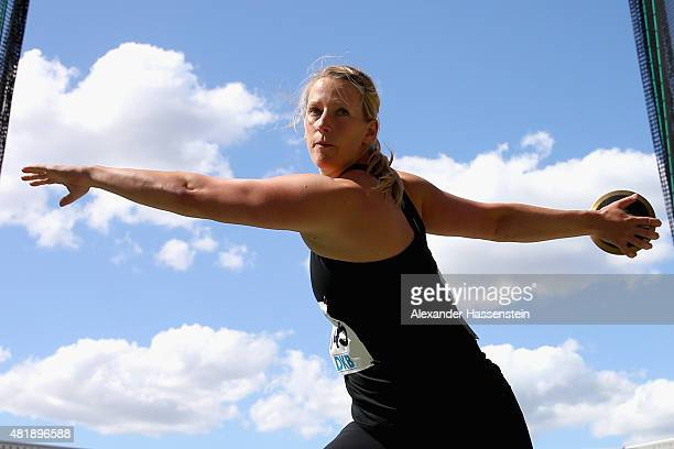 Julia Fischer of SCC Berlin competes in the womens discus finale during day 2 of the German Championships in Athletics at Grundig Stadium on July 24...