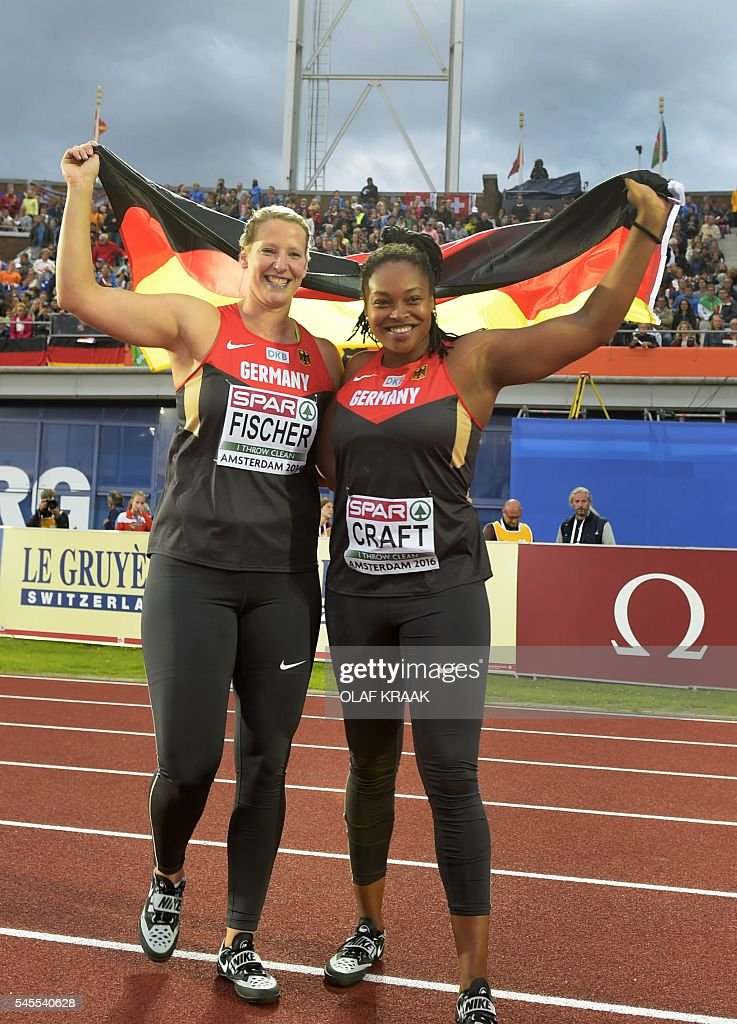 Julia Fisher (L) and Shanice Craft from Germany celebrate after the javelin-throwing final at the European Athletics Championships in the Olympic Stadium, Amsterdam, on July 8, 2016. / AFP / ANP / Olaf Kraak / Netherlands OUT