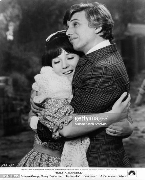 Julia Foster hugging Tommy Steele in a scene from the film 'Half A Sixpence', 1967.