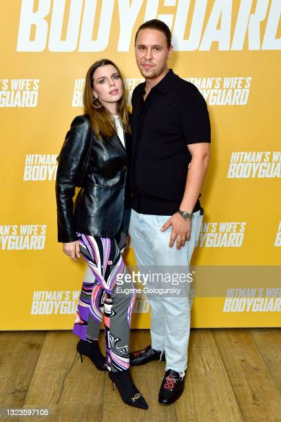 """Julia Fox and Peter Artemiev attend the """"Hitman's Wife's Bodyguard"""" special screening at Crosby Street Hotel on June 14, 2021 in New York City."""