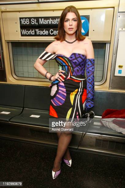 Julia Fox attends the Moschino Prefall 2020 Runway Show front row at New York Transit Museum on December 09 2019 in Brooklyn City