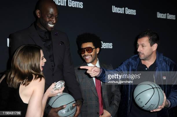 Julia Fox Kevin Garnett The Weeknd and Adam Sandler attends the Los Angeles premiere of Uncut Gems on December 11 2019 in Los Angeles California