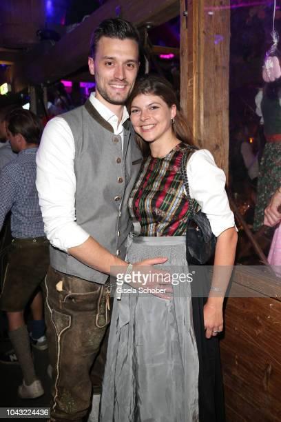 Julia FrankTewaag daughter of Uschi Glas and her husband Tobias Frank during the Oktoberfest 2018 at Kaeferschaenke tent Theresienwiese on September...