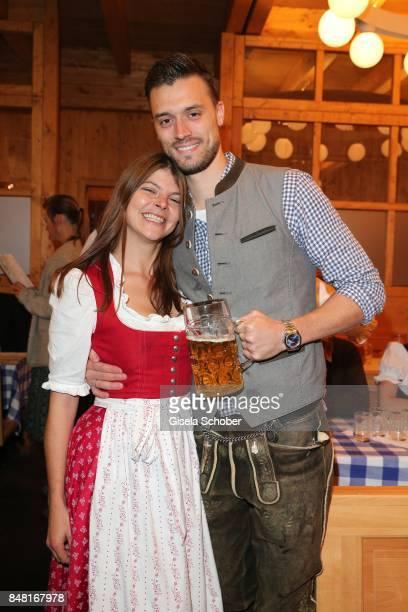 Julia FrankTewaag daughter of Uschi Glas and her husband Tobias Frankduring the opening of the Oktoberfest 2017 at Schuetzenfestzelt at...