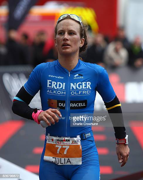 Julia Gajer of Germany crosses the line in second place during Ironman 703 Aix en Provence on May 01 2016 in Aix en Provence France