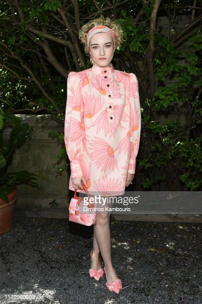 Julia Garner attends the Kate Spade New York front row during New York Fashion Week at Elizabeth Street Gardens on September 07, 2019 in New York...