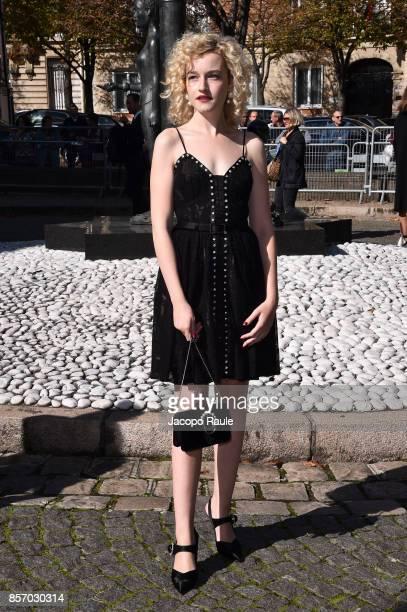Julia Garner is seen arriving at Miu Miu show during Paris Fashion Week Womenswear Spring/Summer 2018 on October 3 2017 in Paris France