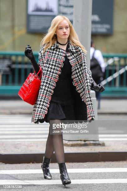 Julia Garner is seen on the film set of the 'Inventing Anna' TV Series on September 29, 2020 in New York City.