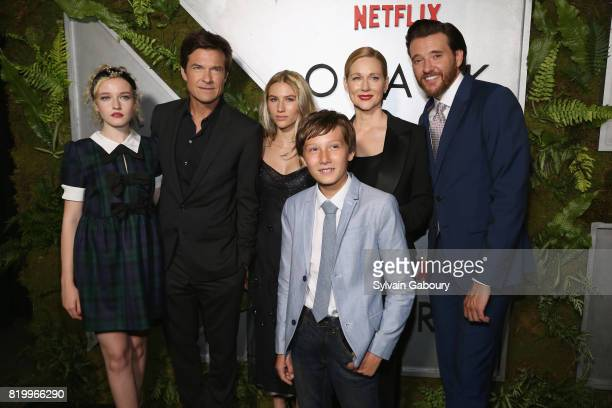 Julia Garner Jason Bateman Sofia Hublitz Skylar Gaertner Laura Linney and Jason Butler Harner attend 'Ozark' New York Screening at The Metrograph on...