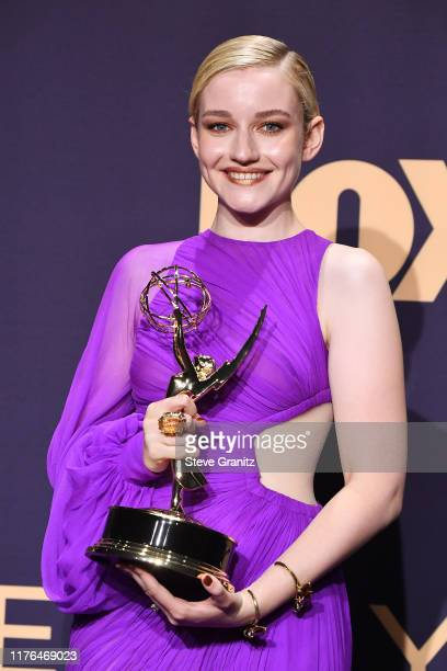 Julia Garner winner of the Outstanding Supporting Actress in a Drama Series award for 'Ozark' poses in the press room during the 71st Emmy Awards at...