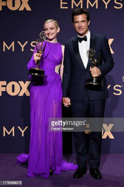 Julia Garner winner of the Outstanding Supporting Actress in a Drama Series award for 'Ozark' and Jason Bateman winner of the Outstanding Directing...