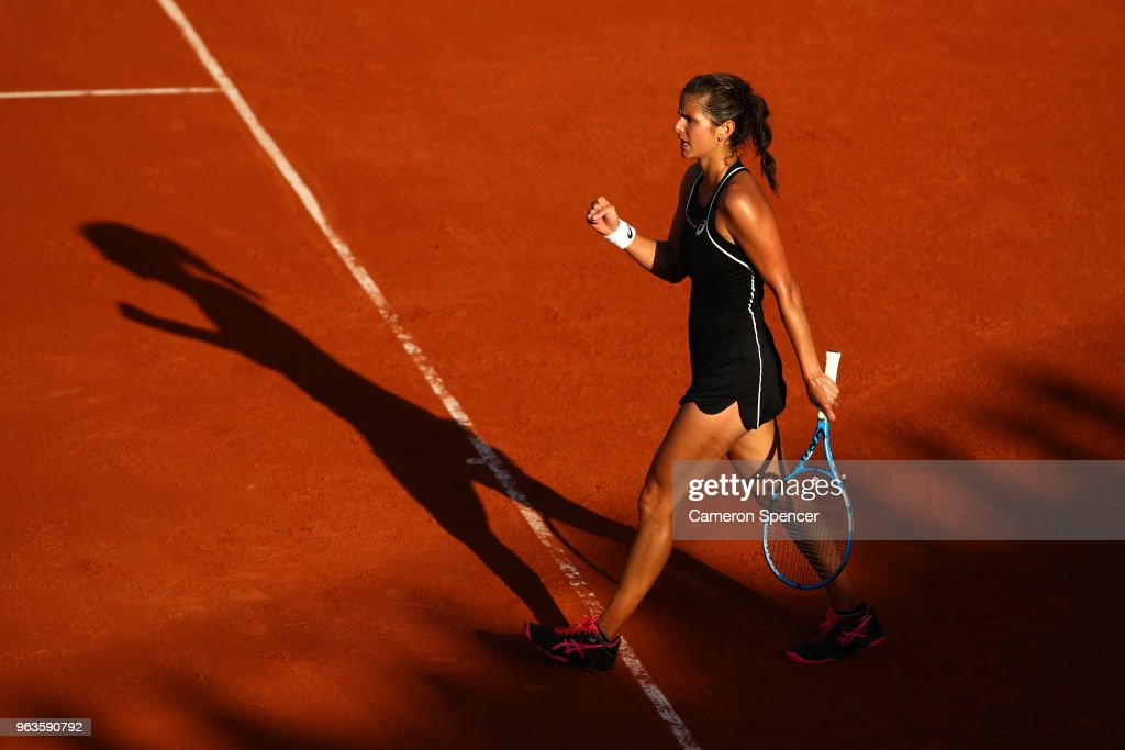 Julia Georges of Germany celebrates during the ladies singles first round match against Dominika Cibulkova of Slovakia during day three of the 2018 French Open at Roland Garros on May 29, 2018 in Paris, France.