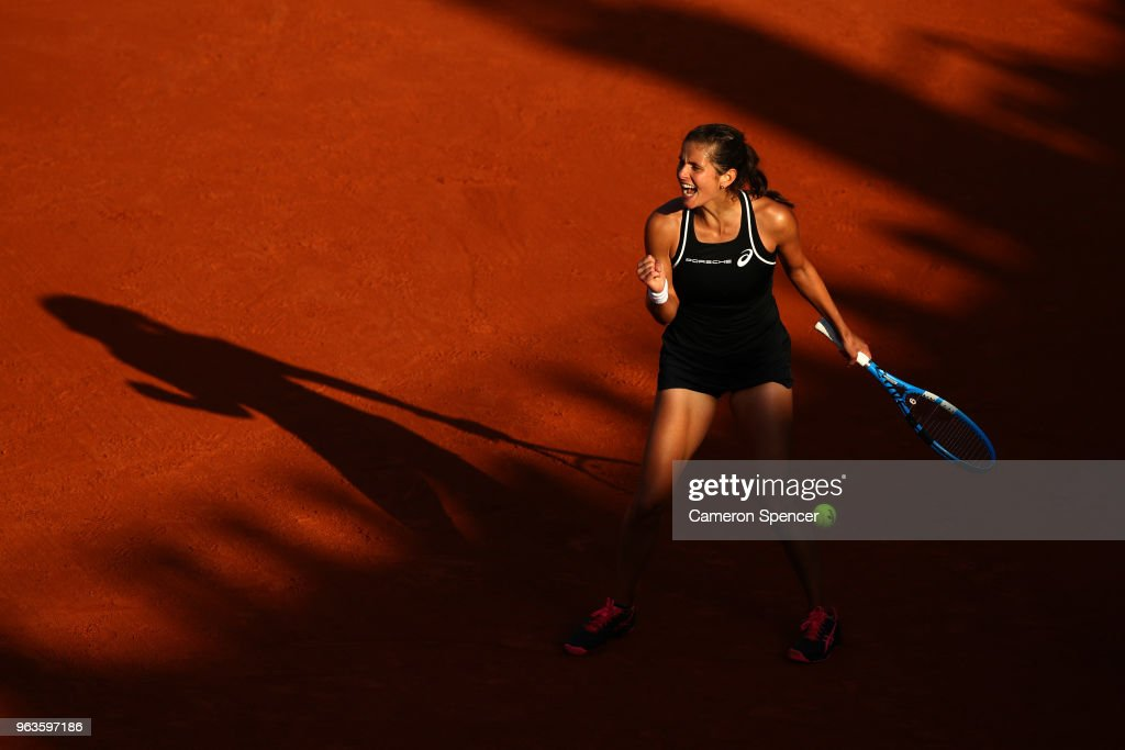 Julia Georges of Germany celebrates victory during the ladies singles first round match against Dominika Cibulkova of Slovakia during day three of the 2018 French Open at Roland Garros on May 29, 2018 in Paris, France.