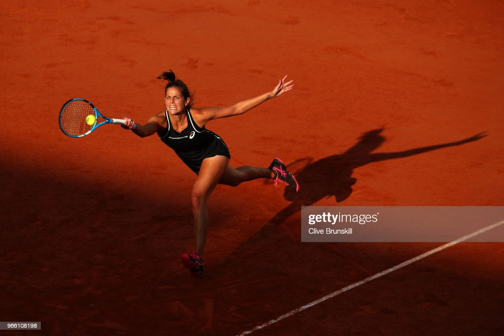 Julia Georges of Germany plays a forehand during the ladies singles third round match against Serena Williams of The United States during day seven of the 2018 French Open at Roland Garros on June 2, 2018 in Paris, France.