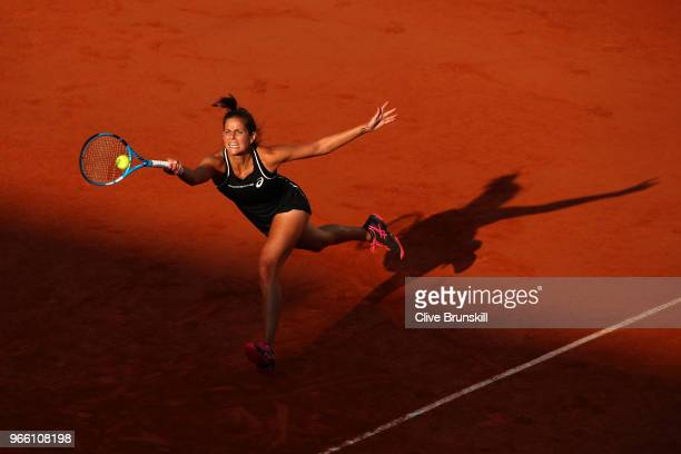Julia Georges of Germany plays a forehand during the ladies singles third round match against Serena Williams of The United States during day seven...