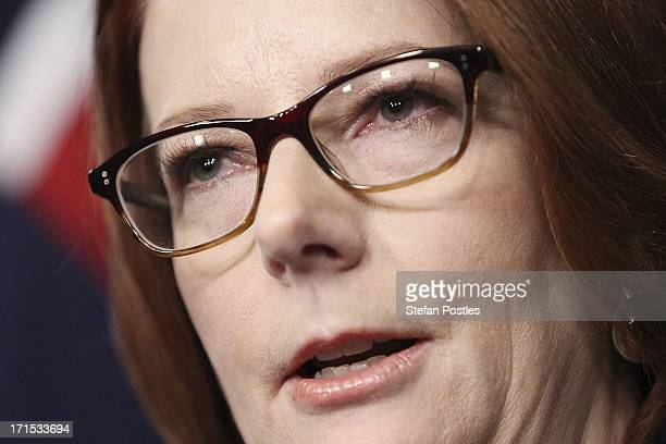 Julia Gillard delivers her post ballot press conference at Parliament House on June 26 2013 in Canberra Australia In a snap leadership ballot held...