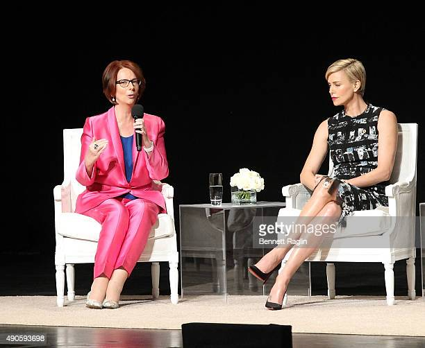 Julia Gillard former Prime Minister of Australia and actress Charlize Theron attend the 'Let Girls Learn' Global Conversation at The Apollo Theater...