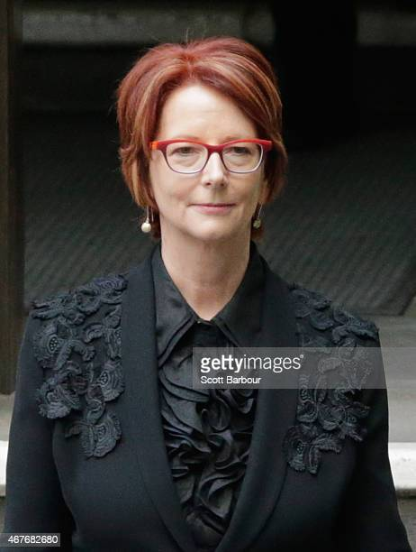 Julia Gillard, Former Prime Minister of Australia leaves Scots Church after the State Funeral for the Right Honourable Malcolm Fraser on March 27,...