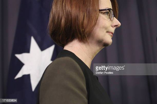 Julia Gillard leaves after delivering her post ballot press conference at Parliament House on June 26 2013 in Canberra Australia In a snap leadership...