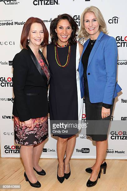 Julia Gillard Lorna Solis and Helle ThorningSchmidt pose backstage at Global Citizen The World On Stage at NYU Skirball Center on September 22 2016...