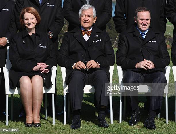 Julia Gillard Prime Minister of Australia Tuiloma Neroni Slade Secretary General and John Key New Zealand Prime Minister pose for the official photo...
