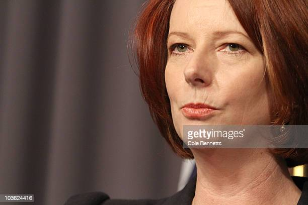 Julia Gillard speaks during a press conference at National Press Club on August 25, 2010 in Canberra, Australia. The 3 Independents and one Green...
