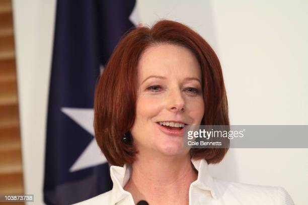 Julia Gillard speaks to press as the Labor party secures Australian's federal election Parliament House on September 7 2010 in Canberra Australia The...