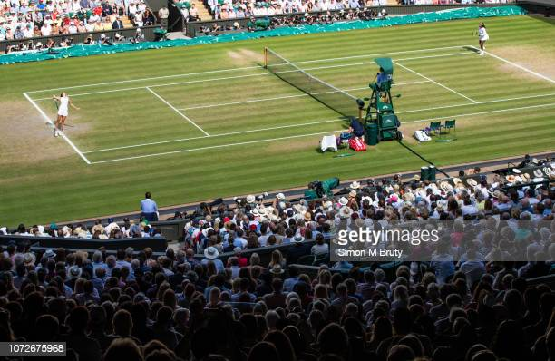 Julia Goerges from Germany serves to Serena Williams from USA on center courtThe Wimbledon Lawn Tennis Championship at the All England Lawn Tennis...