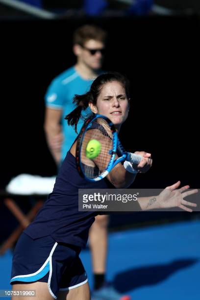 Julia Goerges of German plays a forehand during a practice session ahead of the 2019 ASB Classic on December 27 2018 in Auckland New Zealand