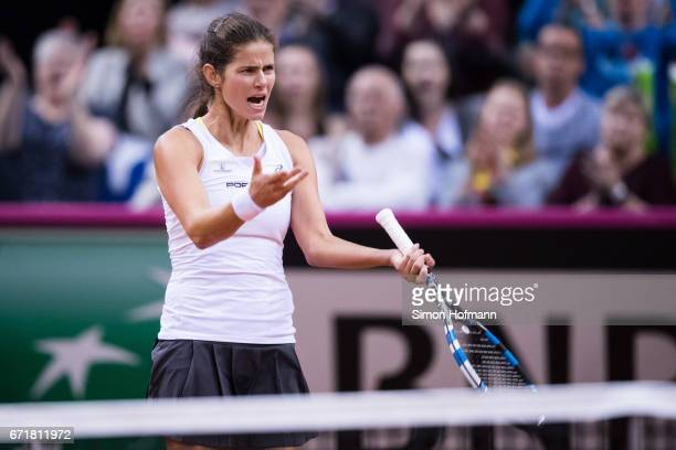 Julia Goerges of Germany celebrates a point against Lesia Tsurenko of Ukraine during the FedCup World Group PlayOff match between Germany and Ukraine...