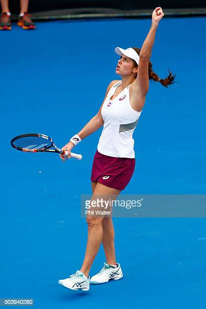 Julia Goerges of Germany celebrates a point against Tamira Paszek of Austria in their semifinal singles match during day five of the 2016 ASB Classic...