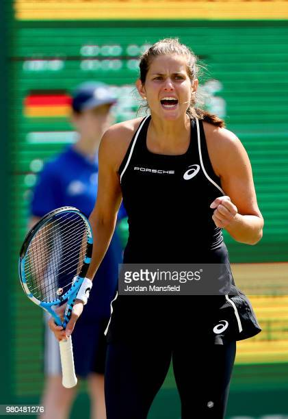 Julia Goerges of Germany celebrates a point during her Round of 16 match against Ashleigh Barty of Australia during Day Six of the Nature Valley...