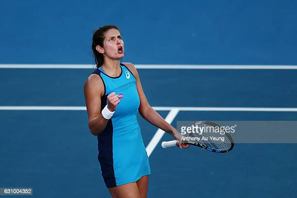 Julia Goerges of Germany celebrates a point in her quarter final match against Caroline Wozniacki of Denmark on day four of the ASB Classic on...