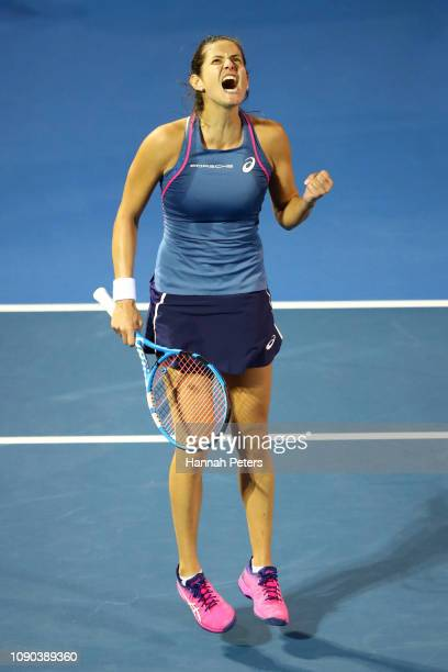 Julia Goerges of Germany celebrates after winning a game during the Women's Final against Bianca Andreescu of Canada on January 06 2019 in Auckland...