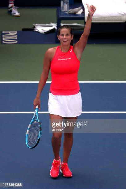 Julia Goerges of Germany celebrates after winning her Women's Singles third round match against Kiki Bertens of the Netherlands on day six of the...