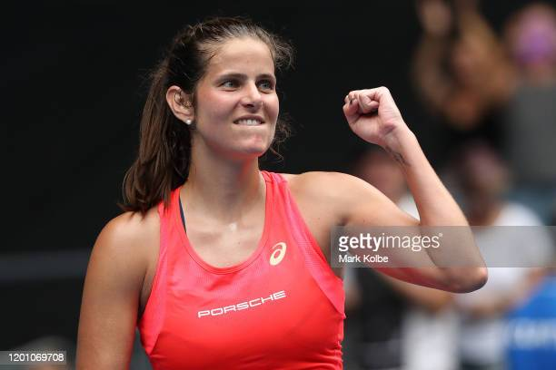 Julia Goerges of Germany celebrates after winning match point during her Women's Singles second round match against Petra Martic of Croatia on day...