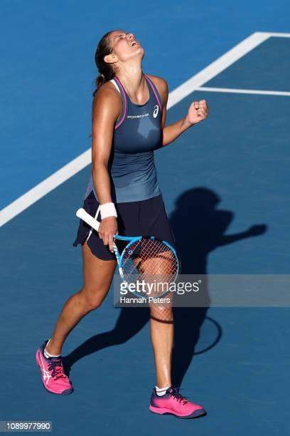 Julia Goerges of Germany celebrates after winning the semi final match against Viktoria Kuzmova of Slovakia on January 05 2019 in Auckland New Zealand
