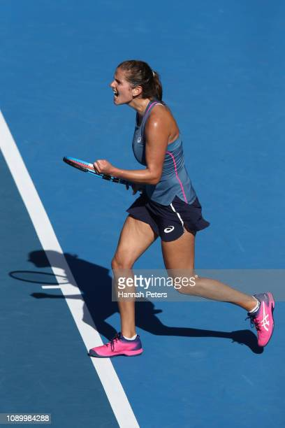 Julia Goerges of Germany celebrates after winning the semi final match against Viktoria Kuzmova of Slovakia on January 05 2019 in Auckland New Zealand